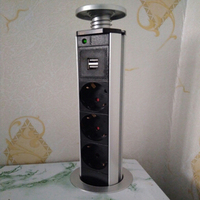 Ship From Russia Universal 220V 16A PULL POP UP Electric 3 EU Power 2 USB