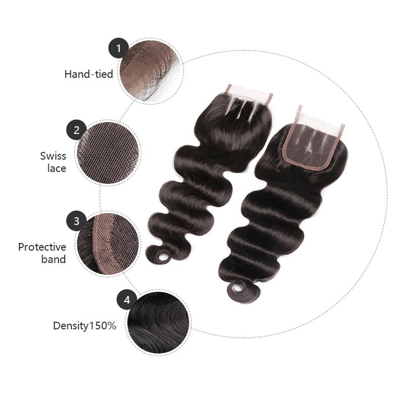 Vroča lepotica zaprtje las brazilske zaponke za telo valovite Remy - Človeški lasje (za črne) - Fotografija 2