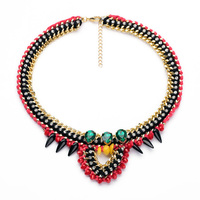 Russian Retro Party Women Ruby Jewelry 18K Gold Plated Rope Tear Personal Necklace For Free Shipping