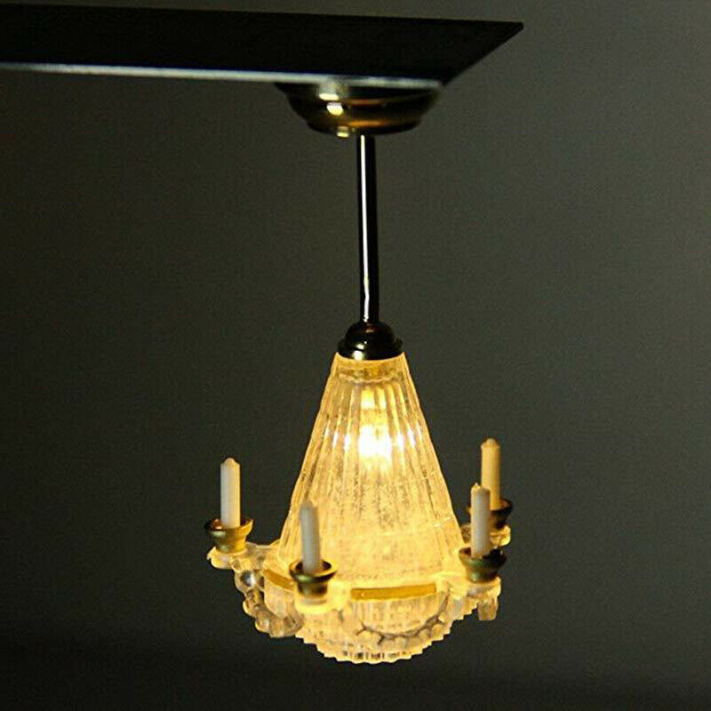 1 12 dollhouse miniature chandeliers ceiling light 3v led lamp 5 candles toy accessory lc023e