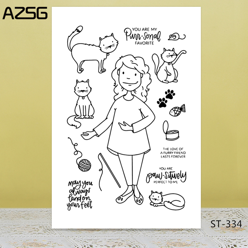 AZSG Amiable Woman Lovely Cat Clear Stamps For DIY Scrapbooking/Card Making/Album Decorative Silicon Stamp Crafts