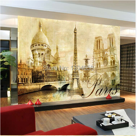 Free shipping custom 3D mural landscape painting the living room sofa bedroom retro television background wall mural wallpaper free shipping custom 3d mural retro european buildings in paris coffee hall the television background wall wallpaper