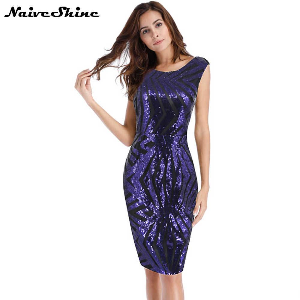 25398f7f57c9a Women Hot Summer Dress O neck Paillette Sequins Short Sleeve Bodycon ...