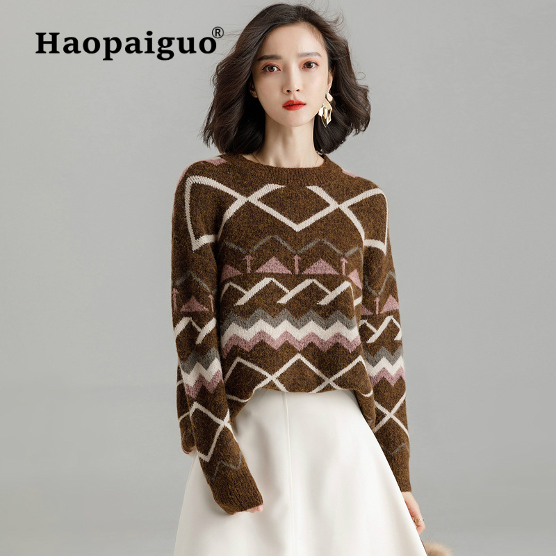 Women's Clothing Honey Half-high Collar Bottoming Thin Winter Women Sweater Loose Bat Shirt Set Head Lantern Sleeve Fashion Sweater Pullovers Knitted
