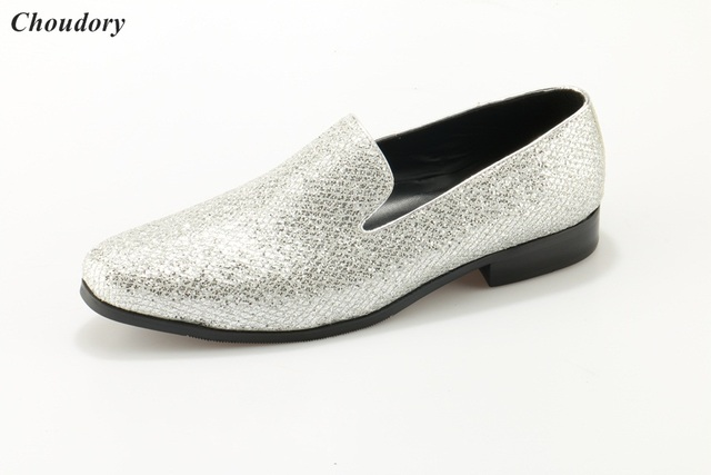 928a1c6b37852e bling bling man silver glittering leather wedding shoes flat man dress  shoes silver color plus size ...