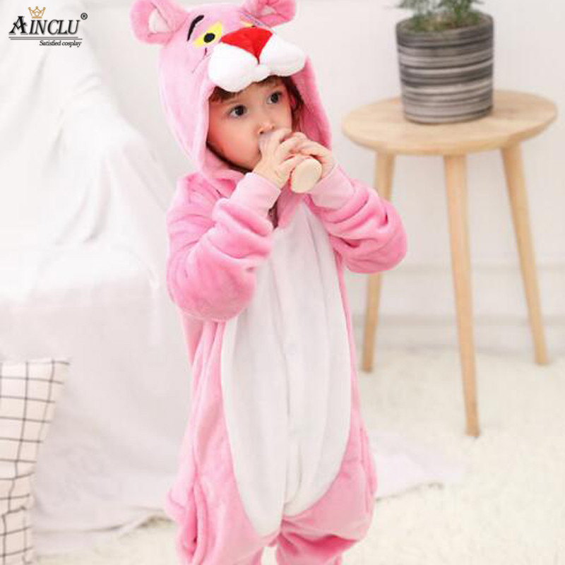 f119df2fc Winter Kigurumi Cute Pink Panther Pajamas Hooded With Slippers ...