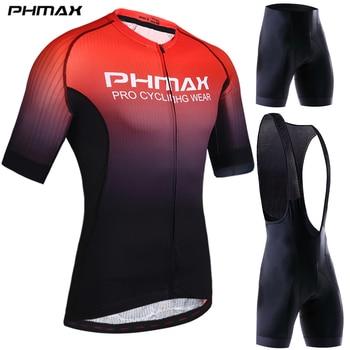 PHMAX Pro Roupas de Ciclismo Homens Ciclismo Definir Bicicleta Roupas Respirável Anti-UV Bicicleta Desgaste de Manga Curta Conjunto Camisa de Ciclismo Para Homem