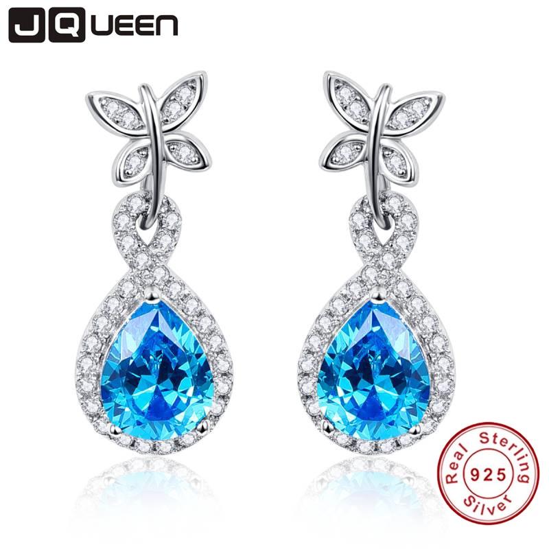 925 mincovní stříbro šperky motýl dekorace 5.5Ct hruška řezané modrá topaz kapka náušnice pro ženy zdarma šperky box