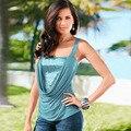2016 nova moda Verão Tops senhora Mulheres Sem Mangas Camisa Blusa Casual Tops T-Shirt vicky