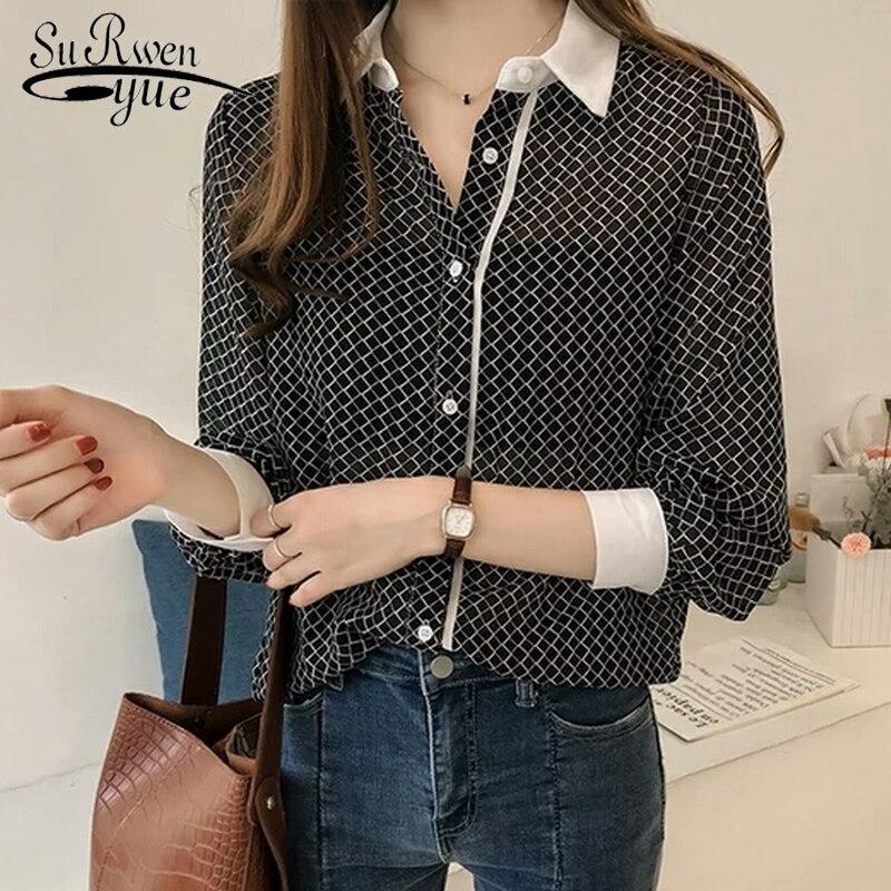 ba70504338f Осень мода 2018 г. плюс размеры блузка для женщин женский плед блузки из шифона  рубашка