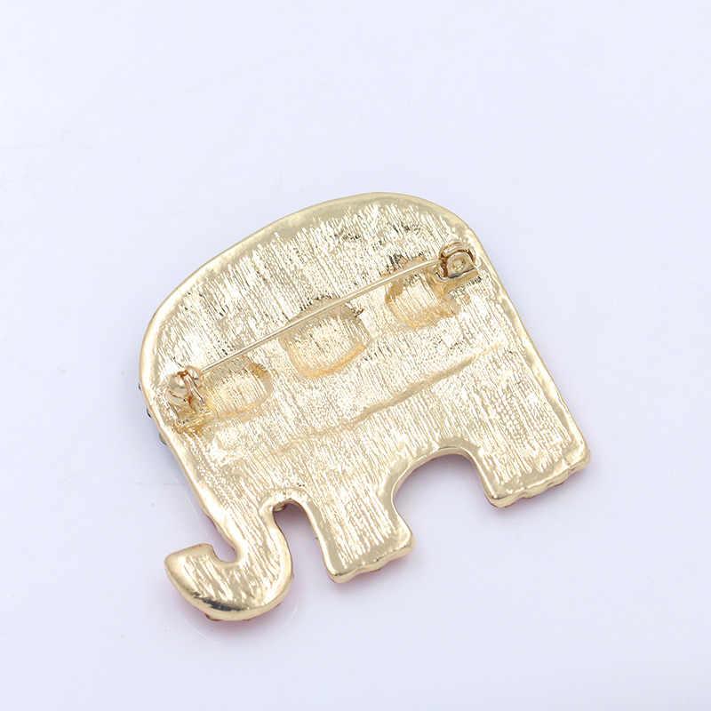 Weimanjingdian Merah dan Biru Berlian Imitasi Gajah Bendera Bros Pin untuk Wanita atau Ornamen Perhiasan