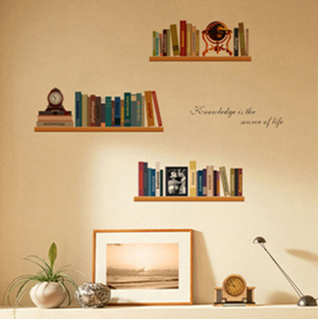 PVC Bookshelf Pattern Color Wall Stickers Living Room Bedroom Childrens Dormitory Study Decorative