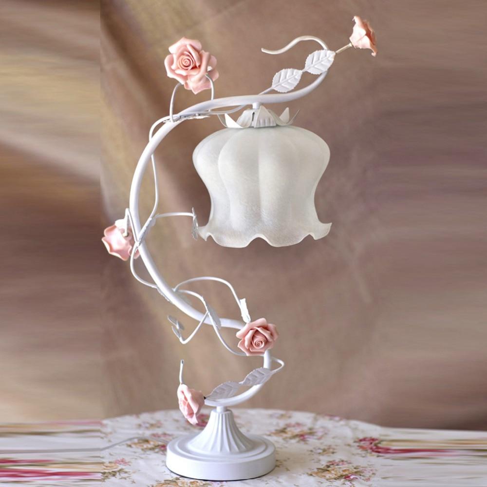 White Green Iron pink rose flower glass table lamp light lighting Vintage wedding bedroom gift E27 ZL366 white iron pink rose flower glass table