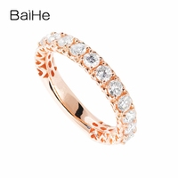 BAIHE Solid 14K Rose Gold Total 1ct Round 100% natural Diamonds Wedding Band engagement Ring Trendy Fine Jewelry Diamond Ring