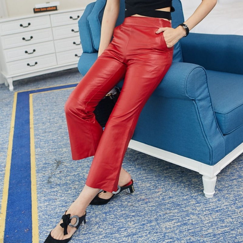 New Women Genuine Leather Sheepskin Flare Pants Real Natural Leather Luxury Trousers Korean Skinny High Waist Slim Female Pants