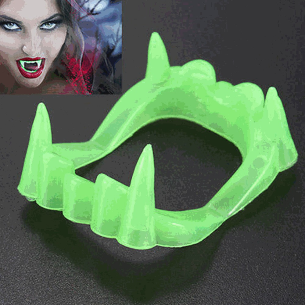 Halloween Glow In Dark Fake Vampire Teeth Toy Cosplay Vampire Kindred Makeup Prop Glow In The Dark Tooth Toy