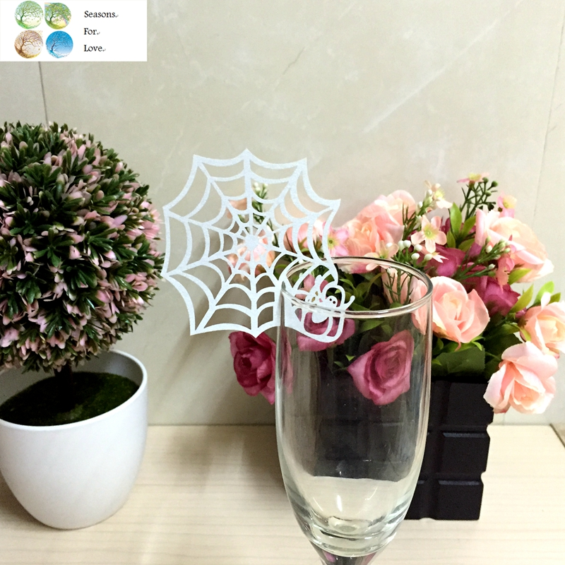 50pcs laser cutting Paper Place Card Escort Cup Card Wine Glass Card spider web wedding  ...