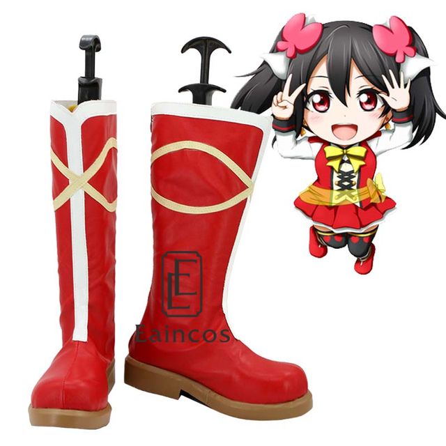 school idol project sunny day song yazawa nico boots cosplay christmas party shoes custom - Red Shoes Christmas Song
