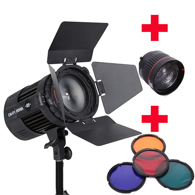Nanguang CN-P100WA 100W Radio wireless COB LED studio light spotlight Ra 95 + NG-10X Studio Light Focus Lens filters + barn door