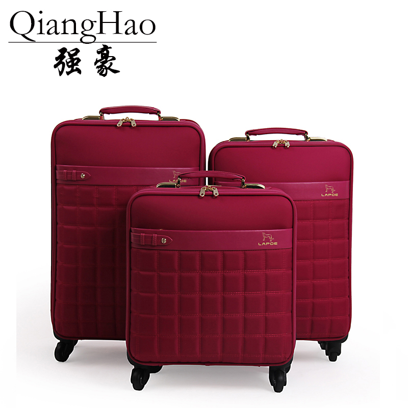 QiangHao brand 16 20 22 inch Waterproof Oxford cloth Travel Suitcase Wheel Trolley Case Portable Carry