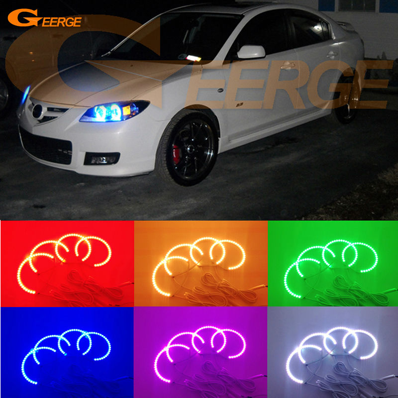 For MAZDA SPEED 3 2007 2008 2009 Excellent Multi-Color Ultra bright RGB LED Angel Eyes kit Halo Rings for alfa romeo 147 2005 2006 2007 2008 2009 2010 excellent angel eyes kit multi color ultra bright rgb led angel eyes halo rings