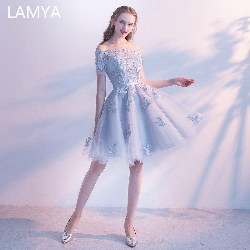 LAMYA Short Lace Sleeve Prom Dresses Boat Neck Evening Party Dress 2019 Elegant Plus Size Formal Gown vestido de festa