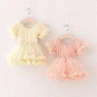 New Children Baby Floral Mesh Dresses Girls Princess Fairy Sweet Dance Dress Pink Ivory Tutu