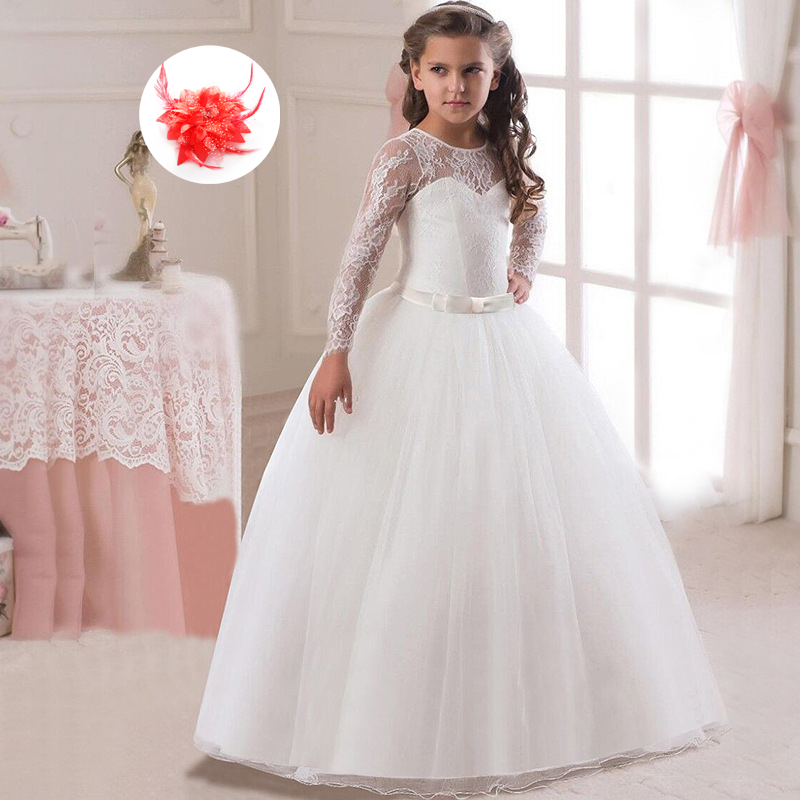 Bowed Waist Prom Ball Gowns for Children Girl Party Dress Set In Lavender Red Peach Lace Sleeves Girls White Wedding Dress embossed tpu gel shell for ipod touch 5 6 girl in red dress