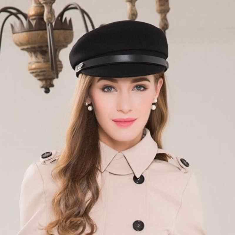2cab953db ... Winter Fashion Women Vintage Wool Black Military Hats Caps For Female  Casual Casquette Bone Yacht Captain ...