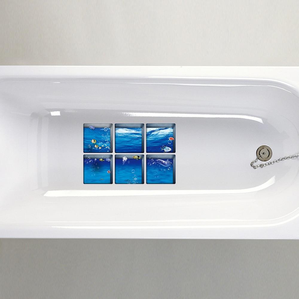 6pcs 3D Bathtub Stickers Non slip Waterproof Self adhesive Bath Tub ...
