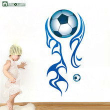 MARUOXUAN New Wall Decals For Kids Rooms Fashion Soccer Wall Stickers Boys Bedroom Diy 3d Football Sticker Home Decor(China)
