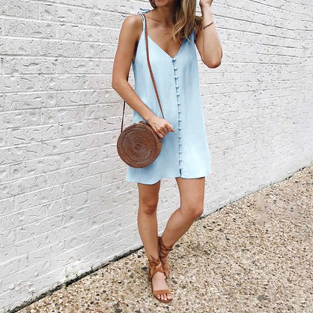 エレガントなボタン女性ドレス 2019 夏の女性のプラスサイズのビーチ膝ミニドレス V ネックドレス sukienki damskie ropa mujer