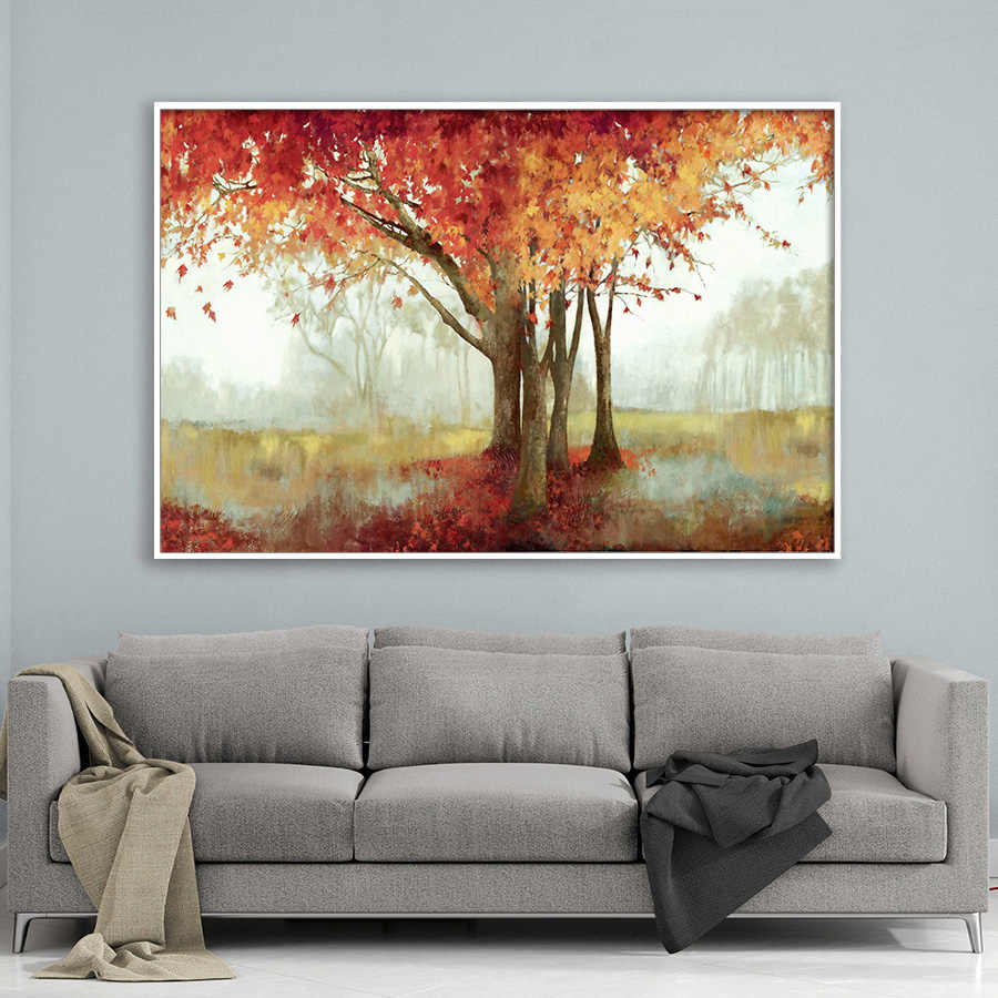 Hand Painted Abstract Tree Oil Painting on Canvas Wall Art Posters and Prints Home Living Room Landscape Decorative Wall Picture