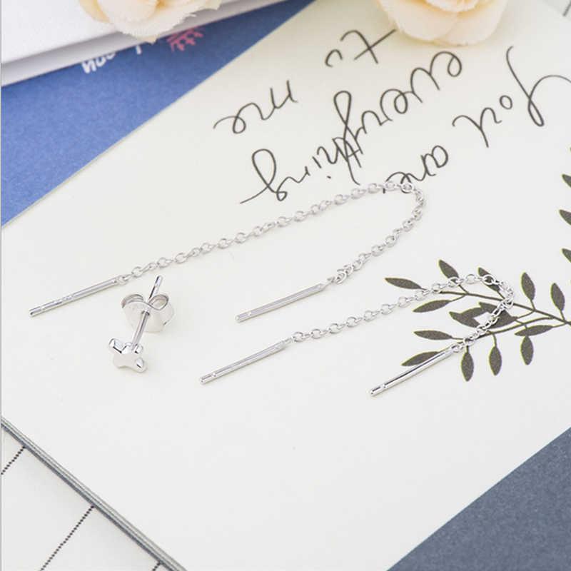 3 pz/set 925 Argento Sterlina In Oro Rosa Croce Orecchio Orecchino Della Vite Prigioniera + U Forma Dell'orecchio Della Nappa Orecchini di Filo