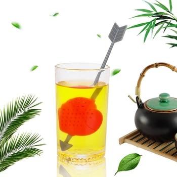 Filtro de hierbas NICEYARD, colador de té, flecha a través del Infusor de té en forma de corazón, bolsas de té vacías, suministros de cocina, Teaware
