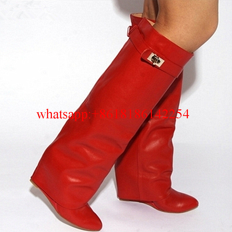 2016 Autumn/Winter Pointed-toe Wedges Boots Female Knee High Boots Knight Boots Women Martin Large Size High-heeled Snow Boots