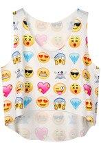 New Sexy 2015 Women Summer Style Sleeveless Fashion  Top Sexy Fashion Womens Funny Emoji Print Women Crop Top LC25640