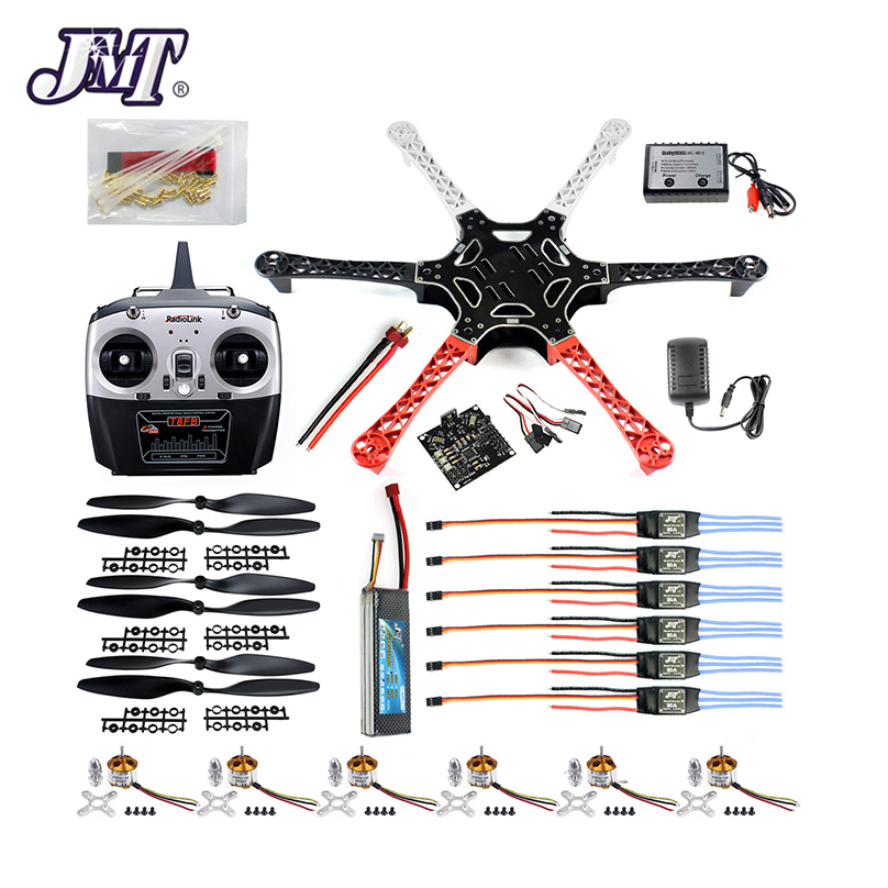 US $115 54 8% OFF|JMT DIY Drone Kit Hex Rotor Hexa Copter RTF W/ F550 Flame  Wheel Kit + KK 2 3 Controller + ESC Motor Weld&debug Battery TX RX-in RC