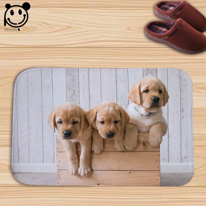 PEIYAUN Lovely Animal Dog Indoor Flannel Door Floor Mat Carpets Rug Tapete Gifts for Pet Home Decor