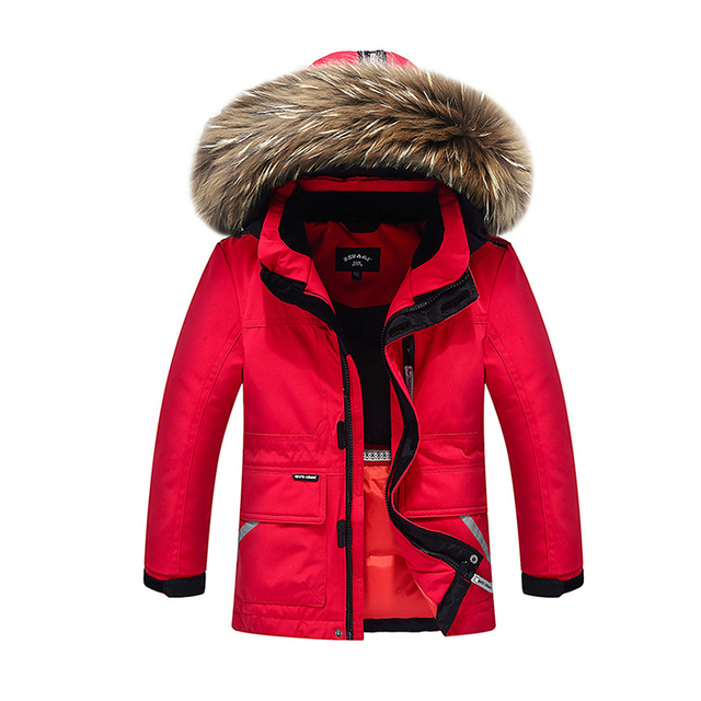 Boys Girls Real Raccoon Fur Collar Quilted Waterproof Duck Down Jacket Outwear Children Kids Winter Warm Coat