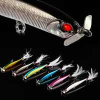 Proleurre 1pcs Propeller Minnow Fishing Lure 12.5g 100mm Sinking Pencil Baits Artificial Hard Bait Feather Hook Fishing Lures