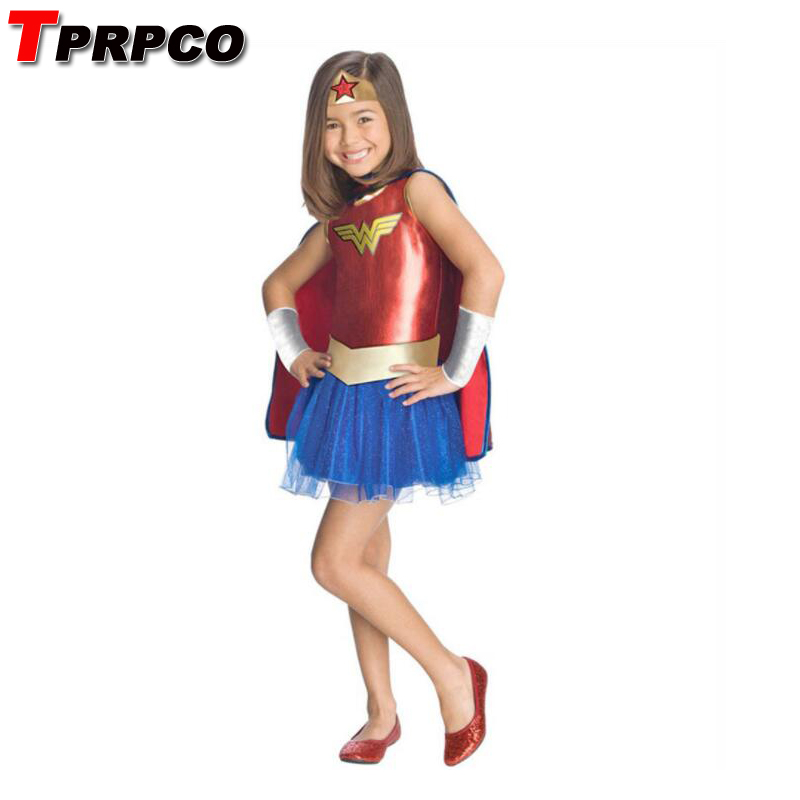 TPRPCO Child's Wonder Woman Costume Deluxe Toddler Girl's Super DC Heroes Cosplay Fancy Dress Halloween Costumes For Kids N189
