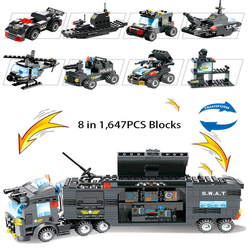 8 in 1 SWAT City Police Station Toys Weapon Gun Block Assembled Building Block Toys For Children Compatible with Classic Gift