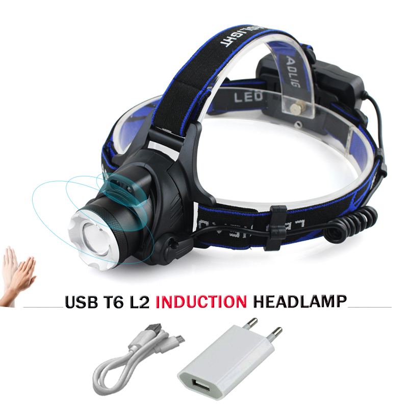 IR Sensor Induction led Headlamp XML L2 Head light Micro USB Rechargeable headlight Lanterna Flashlight Head Torch 18650 light