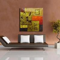 Wholesale Price Dark Gold Color Leaves And Geometric Wall Art Picture Oil Painting Modern Art Style