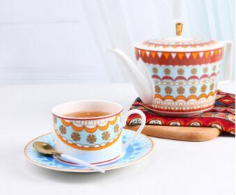 2018 nouveau style Bone chine café tasse ensemble thé tasse avec soucoupe ménage en céramique noir thé tasse bohême vent livraison gratuite