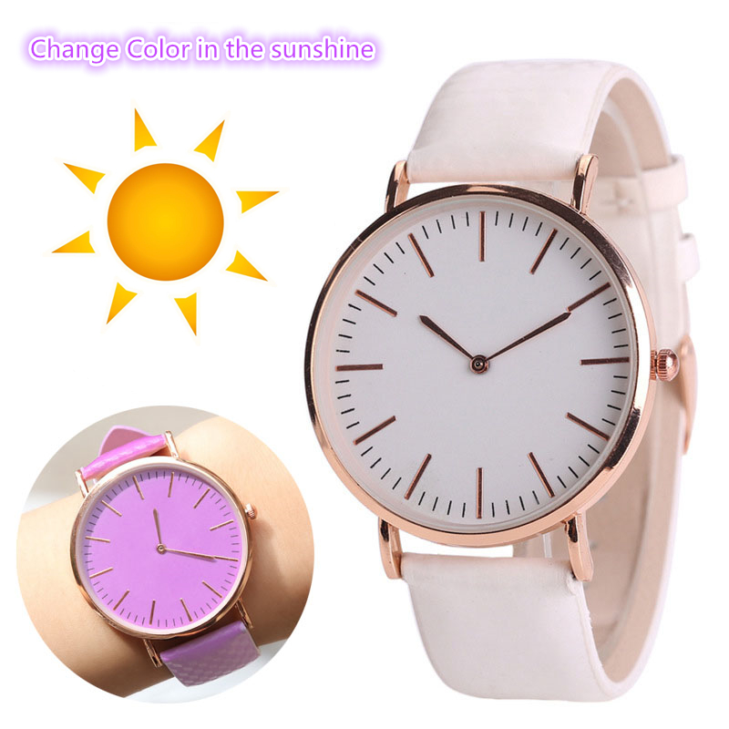 New Change Color Watches Men Women Fashion Casual Sport Clock Colorful Leather Strap Lovers Watches Quartz Watch Montre Homme
