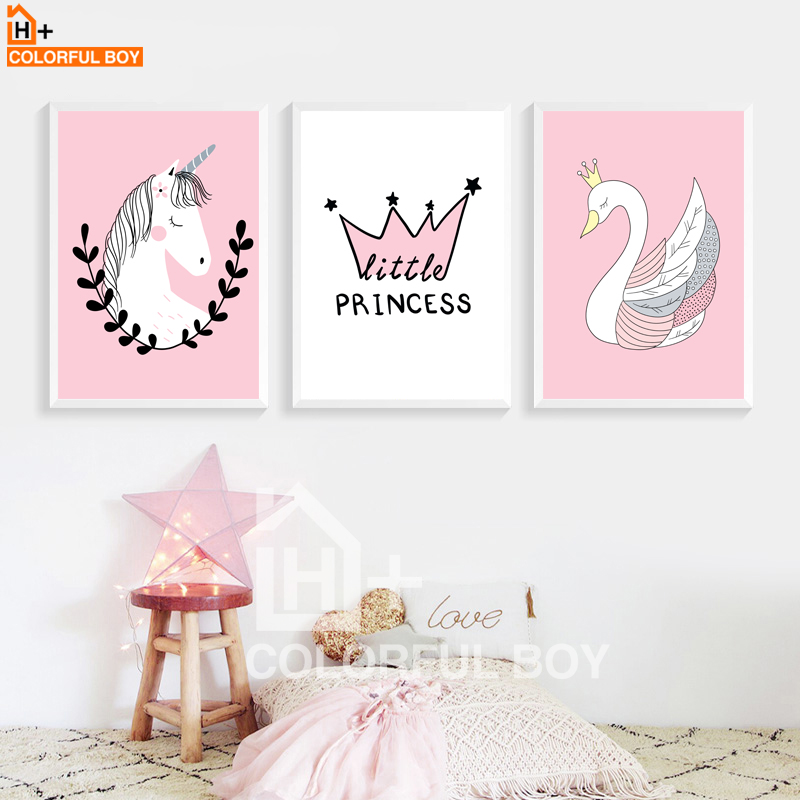 COLORFULBOY Unicorn Swan Princess Wall Art Canvas Painting