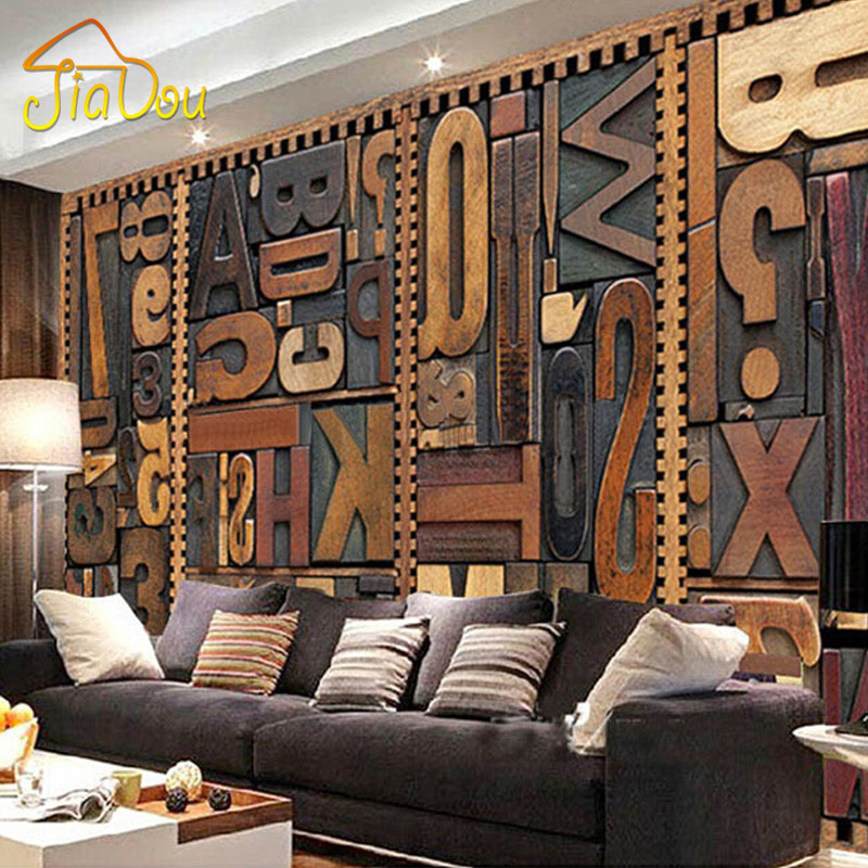 Large Custom Mural Wallpaper 3D Vintage English Letter KTV Living Room Backdrop Art Wallpaper Non-woven Printed Wallpaper Rolls book knowledge power channel creative 3d large mural wallpaper 3d bedroom living room tv backdrop painting wallpaper