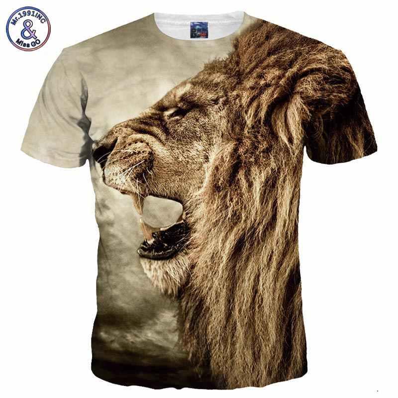 5d47a611d9e9e Mr.1991INC Новая мода Для мужчин/Для женщин 3d Футболка с принтом свирепый  лев
